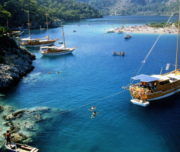 Turkey,Mediterranean Coast,Olu Deniz,holiday boats and beach